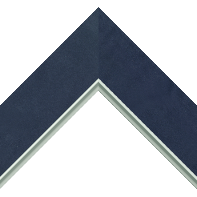 2-1/2″ Navy Suede Flat<br />with Silver Lip Liner Picture Frame Moulding