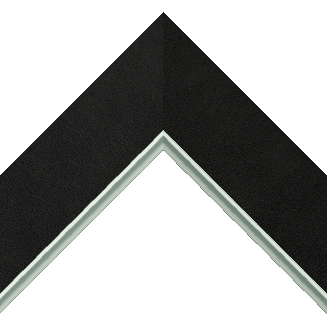 2-1/2″ Black Suede Flat<br />with Silver Lip Liner Picture Frame Moulding