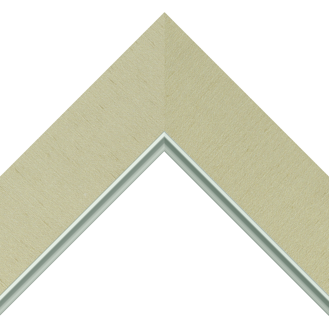 2-1/2″ Ivory Silk Flat<br />with Silver Lip Liner Picture Frame Moulding