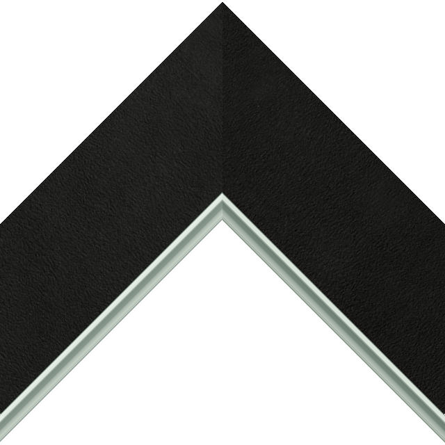 3″ Black Suede Flat<br />with Silver Lip Liner Picture Frame Moulding